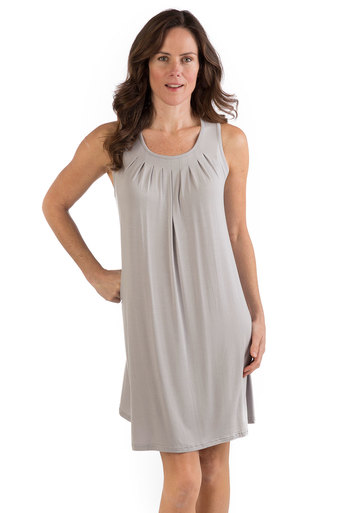 woman with grey bamboo dress
